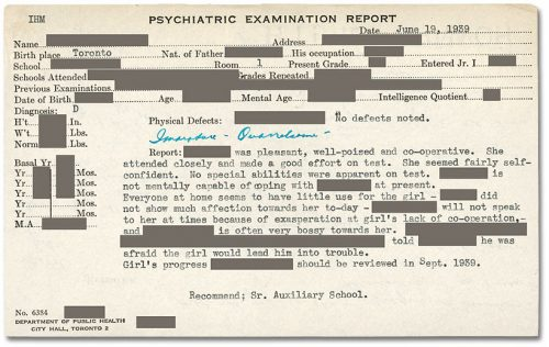 Psychiatrist's report about schoolchild.