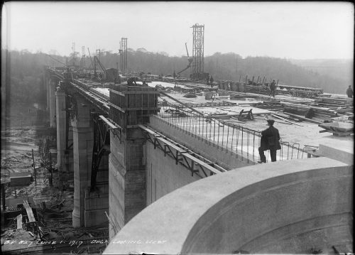Looking over roadbed of viaduct under construction.