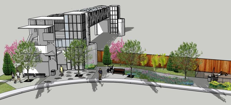 Approach to the bridge will include new trees, bike racks, pavers, seating, waste bin and planeted area.