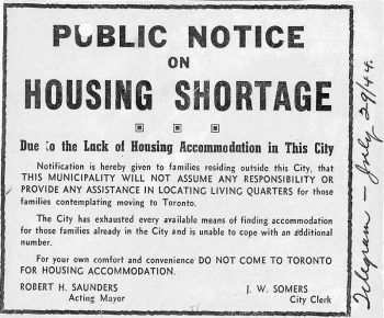 Notice warning people that government won't help them find housing