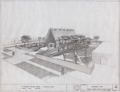 Sketch of Guildwood Village Church, Scarborough, 1961, Architect George A. Robb