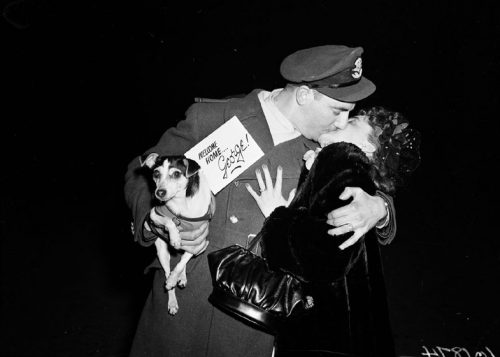 A soldier kisses a woman. In his arm he holds a small dog that has a card attached to it reading 'Welcome home George!'