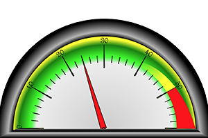 A picture of a semi-circular meter.