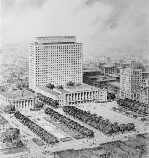 Original design for City Hall, showing rectangular concrete building with low building in front, and large tree-lined public square