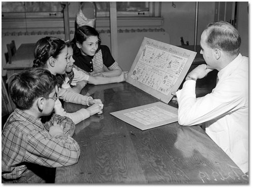 "Children study an illustration of ""the foods in the diabetic diet""."