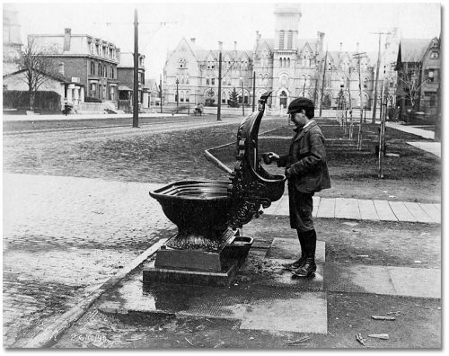 A boy fills a cup in front of a cast iron fountain that has a spout for humans, a large basin for horses, and a smaller basin for dogs.