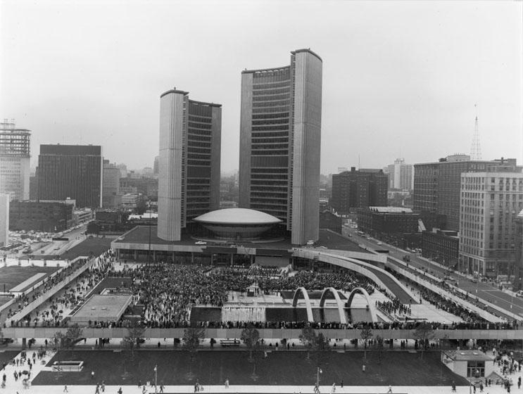 View of City Hall from the south, with Nathan Phillips Square full of people