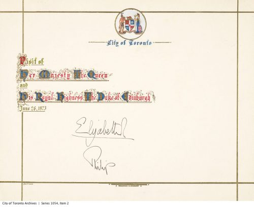 Card commemorating the visit of Queen Elizabeth to Toronto in 1973