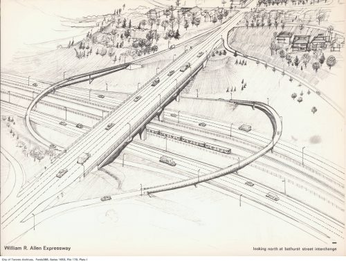Sketch for proposed intersection, Allen Expressway at Bathurst Street