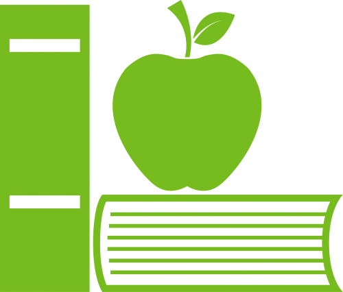 Books and apple icon representing planning literacy