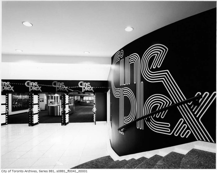 Eaton Centre Cineplex, interior, entrance, 1979