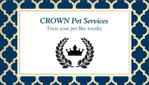 logo for crown pet services that says 'treat your pet like a royalty'