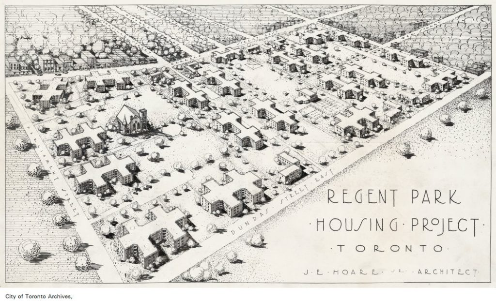 Proposed Regent Park Housing Projrct, architect's perpective, 1948