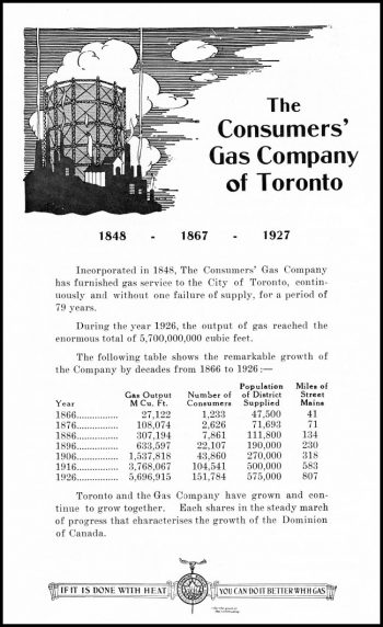 Ad showing the gas company gas plant.
