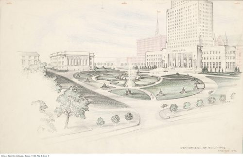 Sketch for proposed new City Hall and civic square