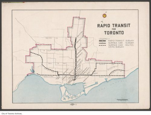 Plan of proposed rapid transit for Toronto, 1945