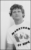 A picture of Terry Fox wearing a t-shirt saying Marathon of Hope