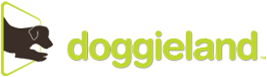 logo for doggieland with illustrated dog