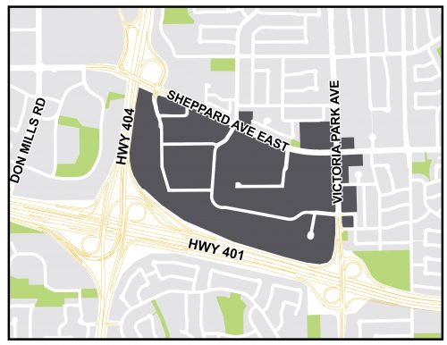 ConsumersNext Study Area. Eastern boundary - Victoria Park Avenue , Souther boundary - Highway 401, Western boundary - Highway 404, Northern boundary - Sheppard Avenue East.