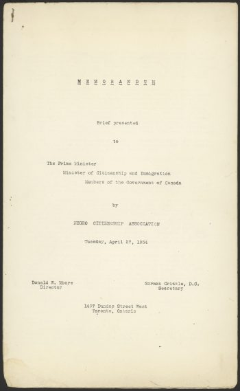 Cover page of memorandum presented to the Prime Minister by the Negro Citizenship Association