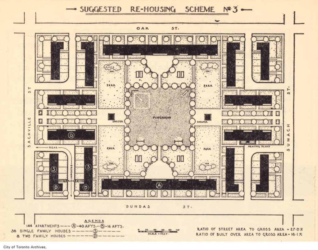 Plan of suggested re-housing scheme, Gerrard and River streets, 1934
