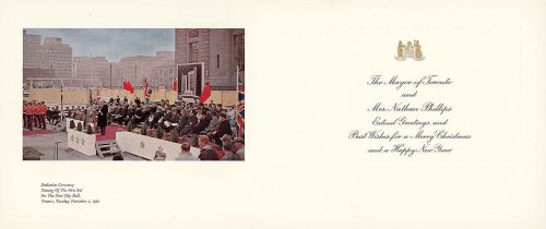 Christmas card with photo of City Hall sod turning