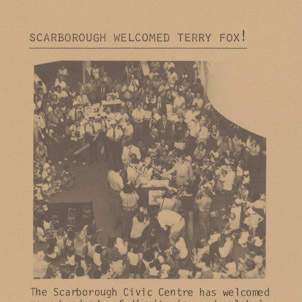 A picture of the Borough of Scarborough Employee Newsletter showing the crowd gathering around Terry Fox inside the Scarborough Civic Centre