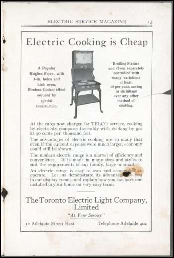 Ad describing how cheap and efficient an electric stove is.