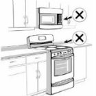 cross sign to microwave and stove