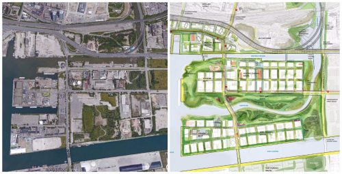 Two maps showing the current and future versions of the Port Lands area, including flood protection measures