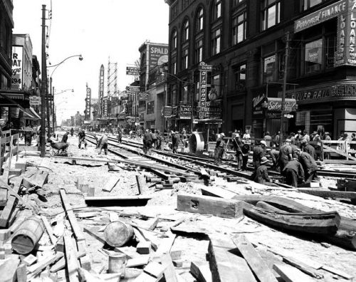 Rebuilding streetcar track