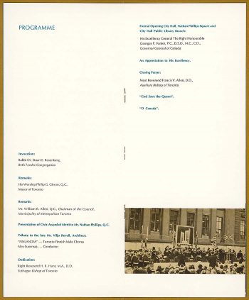City Hall opening program page with list of participants