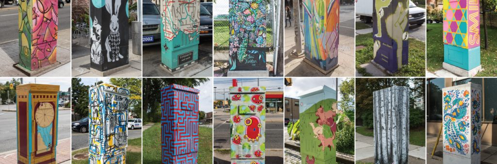 collage of painted traffic signal boxes