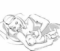 woman breastfeeding baby in side lying position