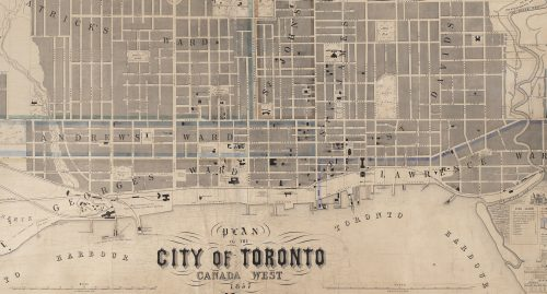 1857 map of Toronto between Dufferin, Bloor, and the Don River