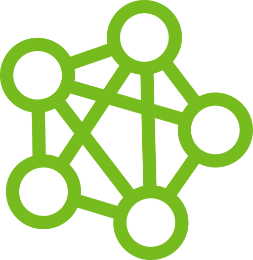 Connected nodes icon representing community building