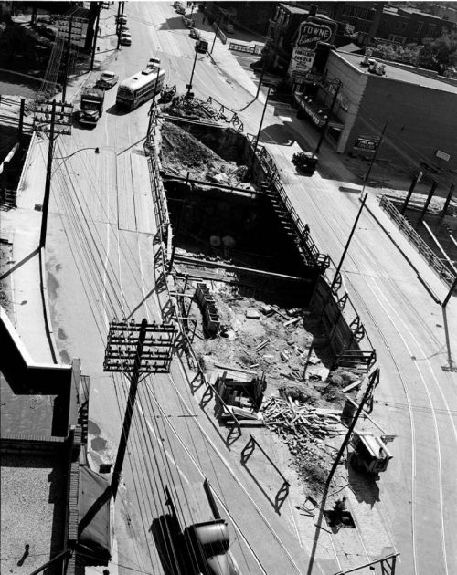 Excavation for streetcar entrance, Bloor Street East