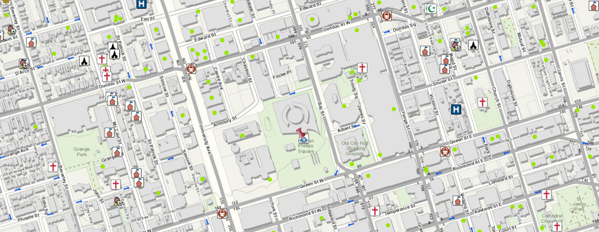 Screen capture of Toronto Maps application