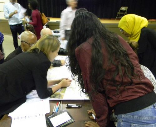 Participants working at one of the workshop tables during the September 28, 2017 public meeting.