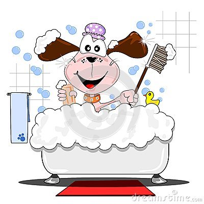 logo for hello doggy with illustrated dog in a bubble bath