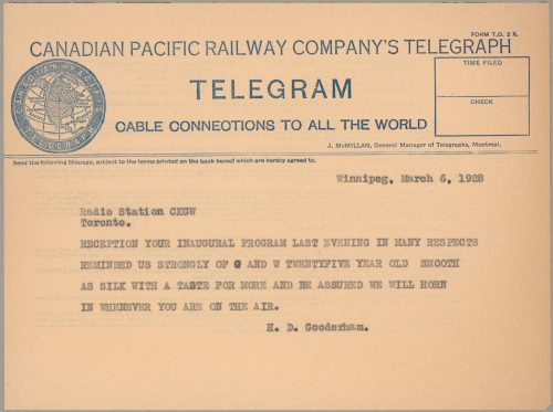 Telegram from H.D. Gooderham to staff at CKGW radio station