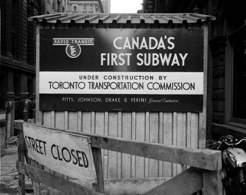 Subway construction sign