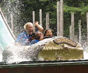 People going down the log flume ride at Centreville