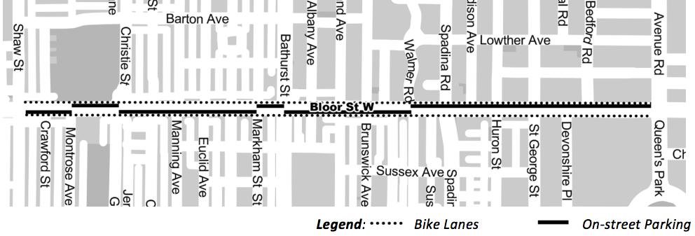 Map of Bloor bike lanes and onstreet parking