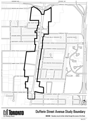 Key map of the Dufferin Avenue Secondary Study Boundary