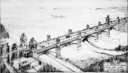 Drawing showing viaduct with tall concrete pillars lining its sides.