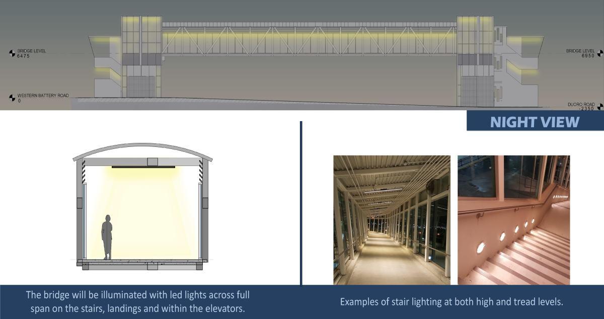 Overnight pedestrian lighting through all passageways.