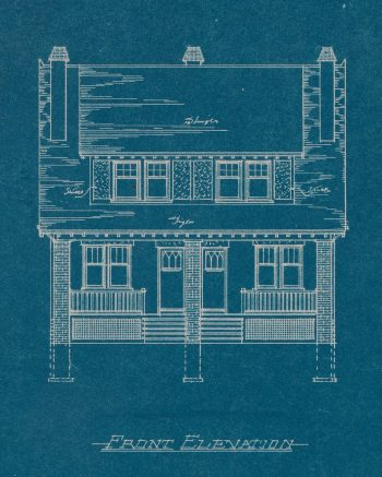 Blueprint of one pair semi-detached dwellings, Nairn Ave., 1919