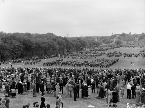 Crowd watches army regiments in formation in a park.