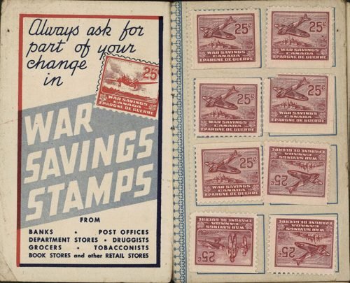 The left side of this open booklet reads, 'Always ask for part of your change in war savings stamps.' The right side has eight war savings stamps stuck onto spaces provided.